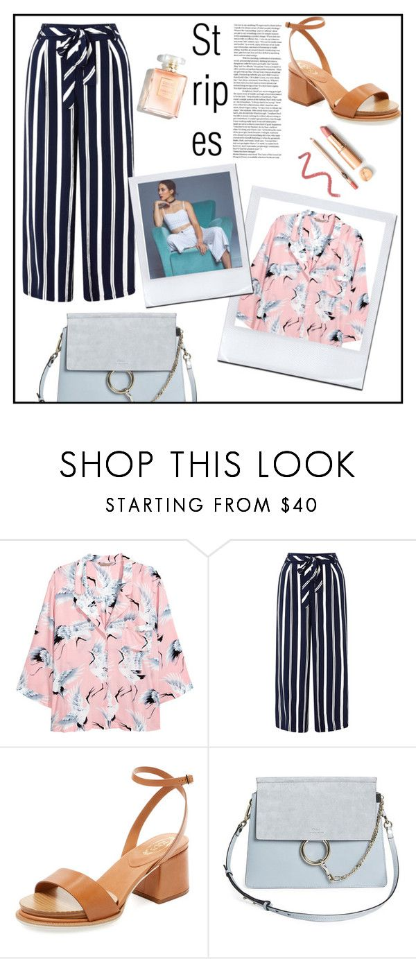 """Strong Stripes: Graphic Striped Pants"" by spencer-hastings-5 on Polyvore featuring moda, H&M, Monsoon, Tod's, Chloé i stripedpants"