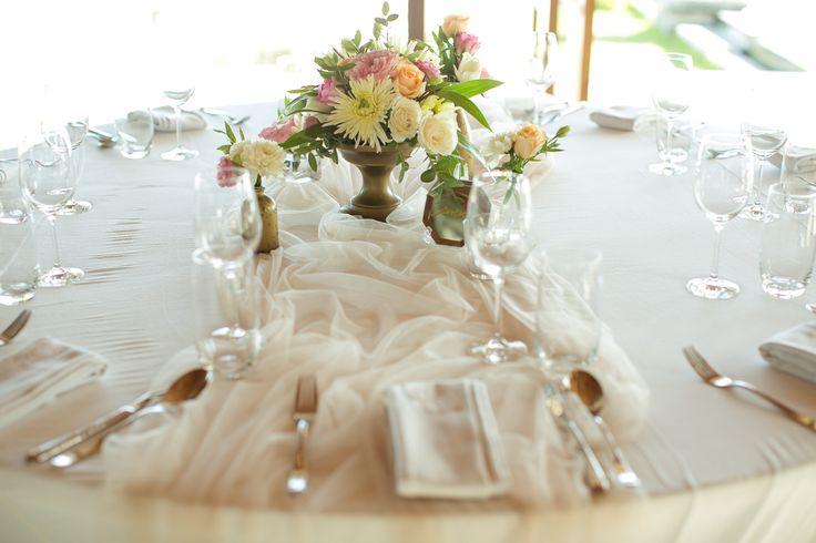 Garden Rose, Rose Lisianthus  & Chrysanthemum - pink shade glowing onto Tables