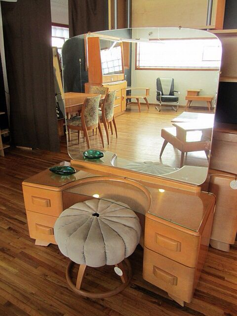 heywood wakefield vanity and pouf by mod livin mid century retro modern furniture store