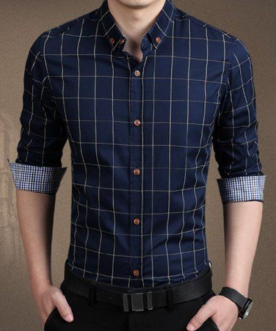 Stylish Shirt Collar Color Block Checked Splicing Slimming Long Sleeve Cotton Blend Button-Down Shirt For Men Men's Shirts | RoseGal.com Mobile