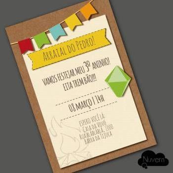 Convite virtual com estilo artesanal para envio por email, whatsapp ou redes sociais - Festa Junina