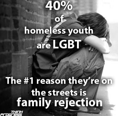 What the hell this is awful. Shit if I ever make it big with my writing I'm blowing all the proceeds on shelters, scholarships, and care for any and all LGBT+ kids. No one should be unloved. No one should have to live on the street and suffer because of their identity and orientation. This is sick