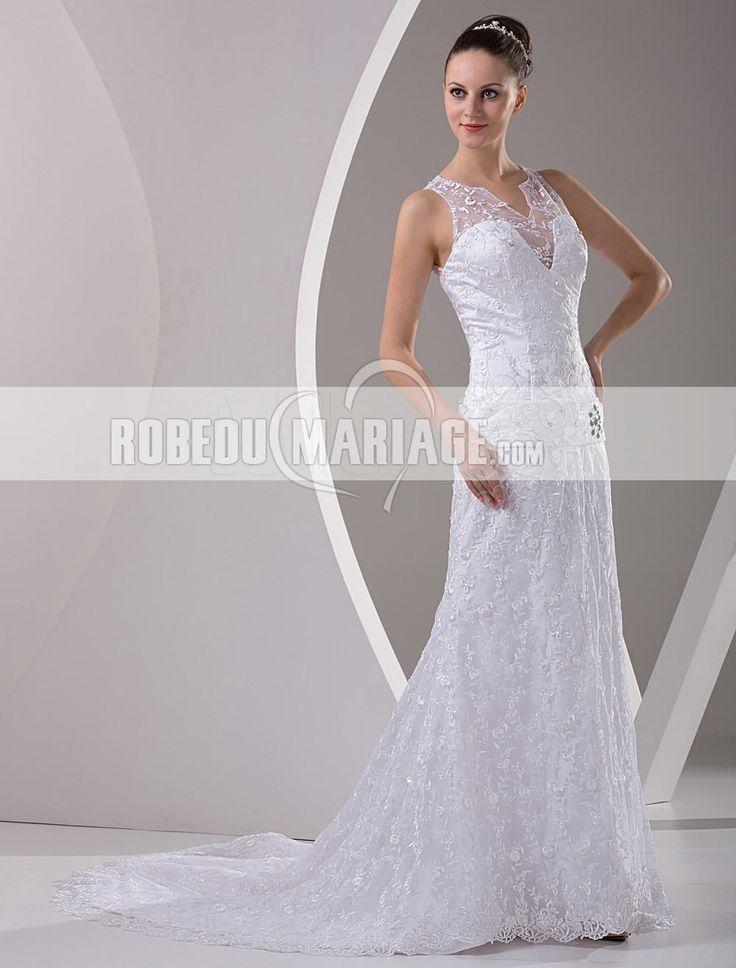 Robe de mariée moderne dentelle dos demi-transparent traîne balayée robe pas chère [#ROBE206893] - robedumariage.com