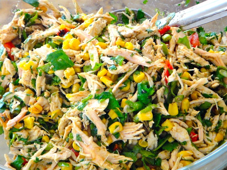 So Healthy! Shredded Turkey with Cilantro, Green Onion, Red Pepper, Roasted Corn, Cumin and Fresh Lime: Red Peppers, Turkey Tacos Salad, Black Beans, Cilantro, Fresh Limes, Roasted Corn, Shredded Turkey, Cooking Healthy, Green Onions