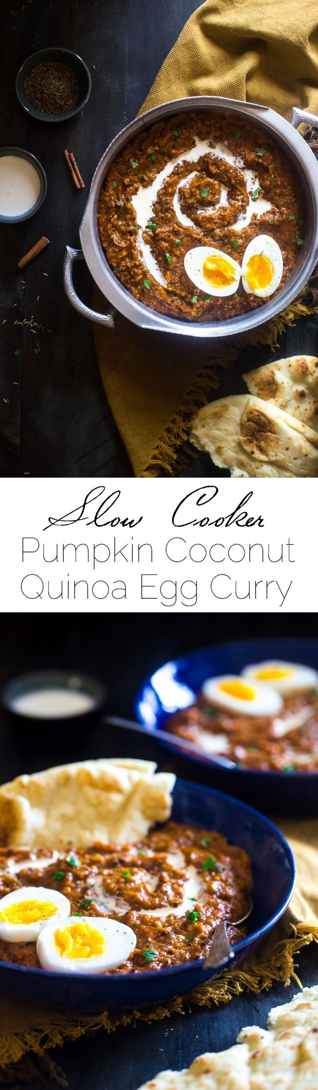 Slow Cooker Pumpkin Coconut Quinoa Egg Curry - This slow cooker curry is mixed with coconut milk, pumpkin, quinoa and topped with boiled eggs for an easy, healthy, fall meal for meatless Monday. Easily vegan friendly!   Foodfaithfitness.com   @FoodFaithFitness