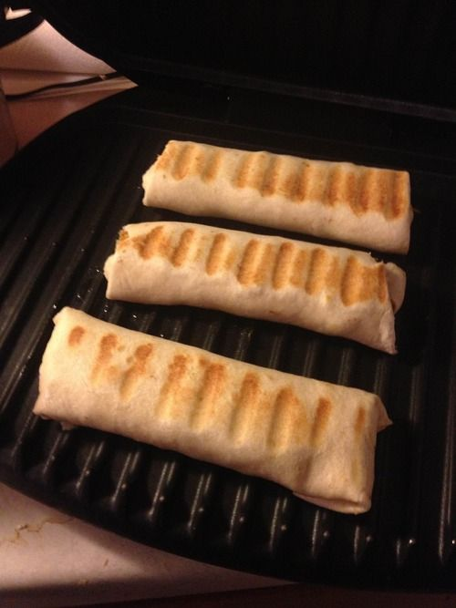 Shredded chicken burritos, on a George Foreman Grill!