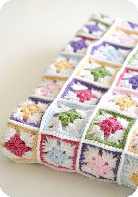 Beautiful Pastel blanket - particularly love how the seam attaching is a feature, acting like a frame for each block #crochet