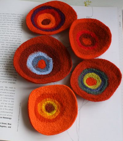Felted wool Kandinsky inspired brooches