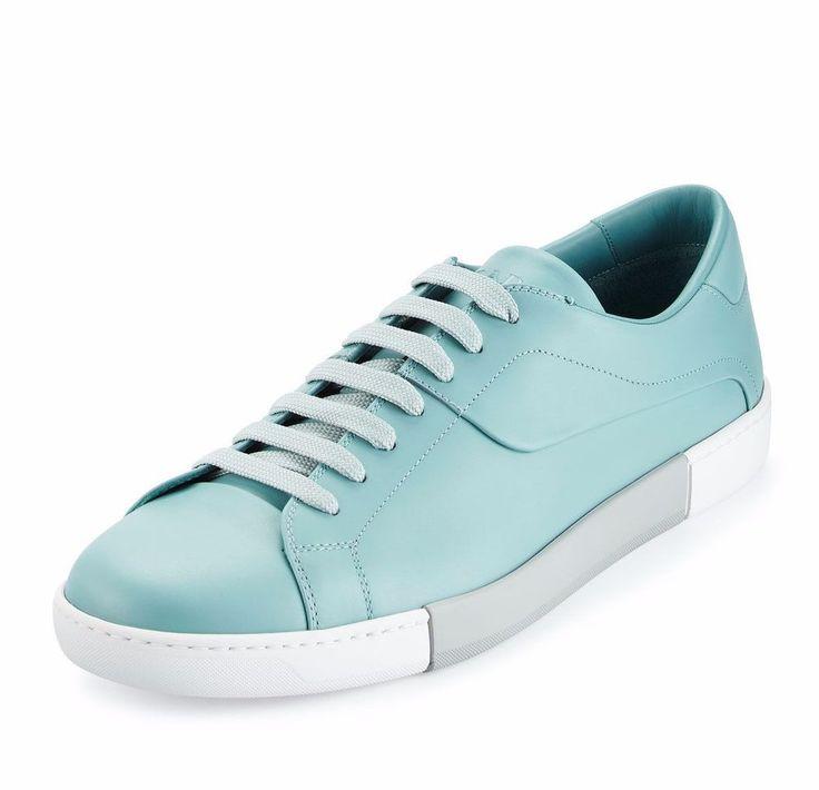 NIB Prada Mens Blue Leather Low-Top Tennis Sneaker Shoes 10  ($695) #Prada #FashionSneakers
