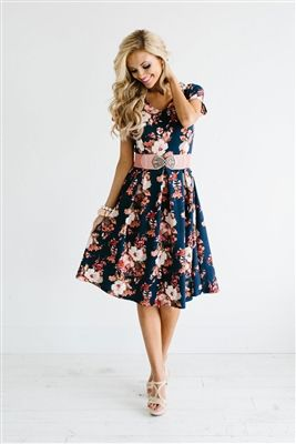 Navy Floral Spring Modest Dress, modest dresses, best modest dresses online, the best modest dress, modest bridesmaids dresses, bridesmaids dresses with sleeves, dresses for church, modest skirt, easter dresses, dresses for easter sunday