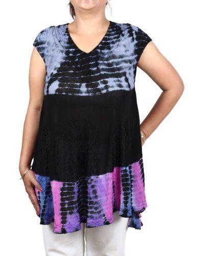 Summer Top Rayon Colorful Tie Dye Embroidered Indian Dress ShalinIndia http://www.amazon.in/dp/B00CRA58WG/ref=cm_sw_r_pi_dp_U-00tb0KFF6104JB