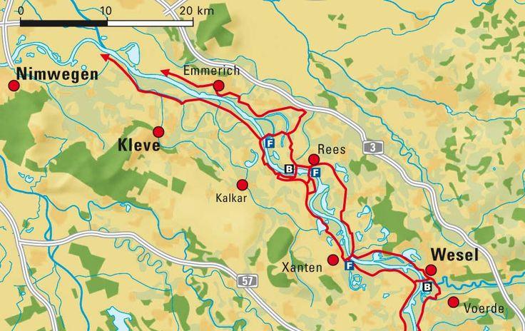 Der Rheinradweg zwischen Wesel und Emmerich am Rhein