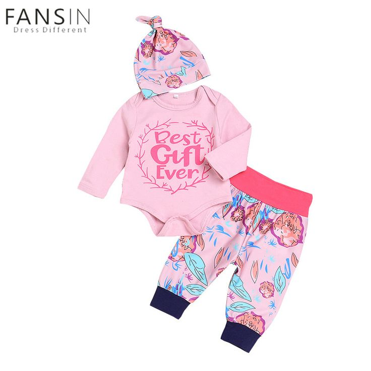 Cute Newborn Baby Girls Clothes Cotton Tops Long Sleeve Romper Floral Leaf Pants Hat Outfits Set 3pcs Infant Kids Clothing Sets