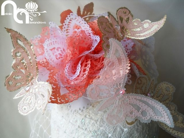 """Fascinator """"Flower & butterflies"""" from manually perforated fabric. Designed & handmade by Natalia Alexandrova"""