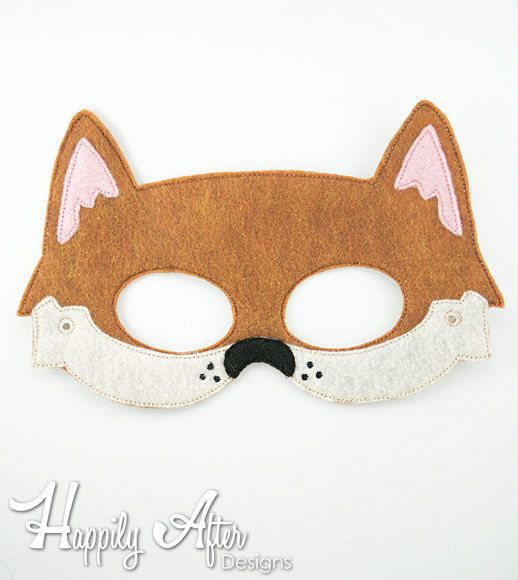 Dingo Mask Embroidery Design, dingo mask, machine embroidery, ITH mask, in the hoop, embroidered mask, 5x7, 6x10, Australian, animal, dog