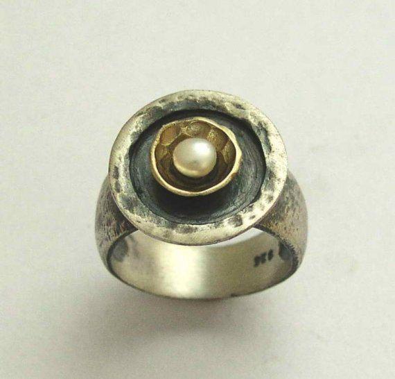 Anillo de la perla anillo de plata esterlina anillo de oro