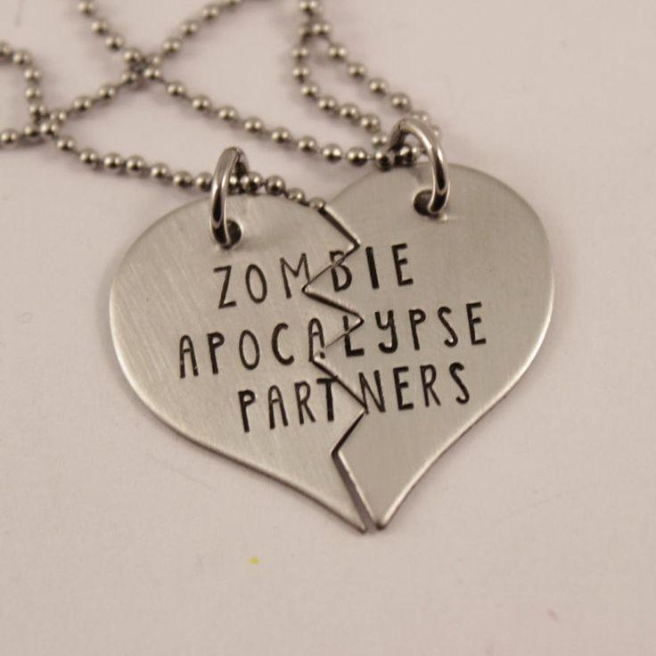 """Zombie Apocalypse Partners"" Necklace or Keychain Set #SK"