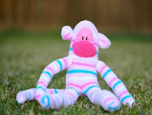 sock monkey / Handmade LARGE long-legged pink blue & white striped soft toy gift