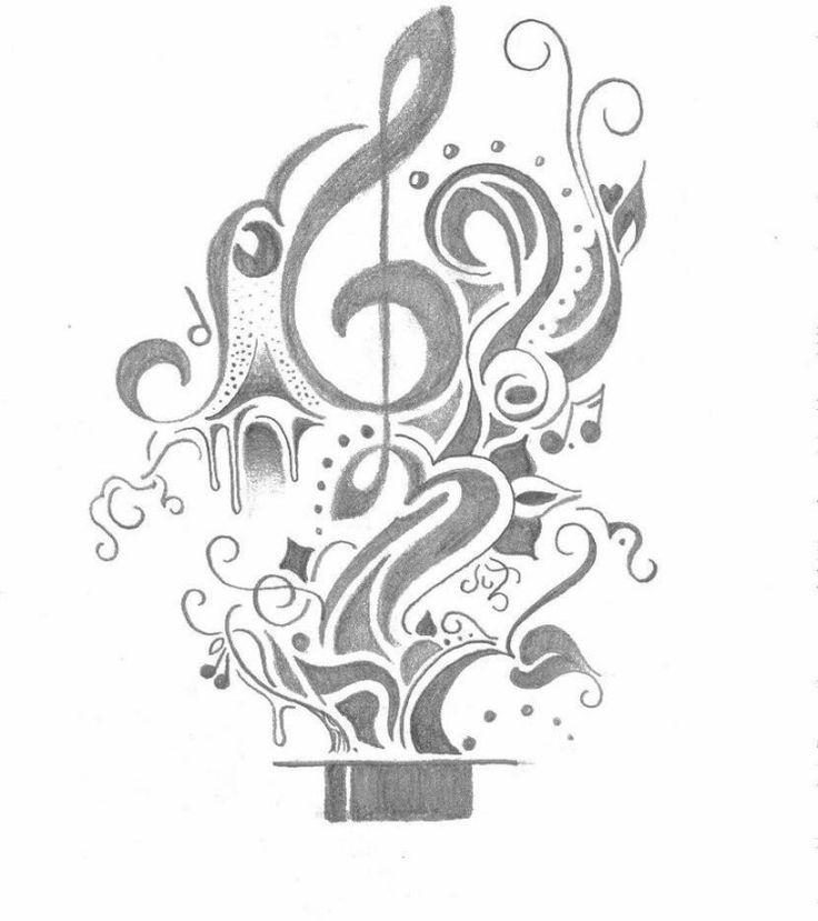 notes et musique sortent du chapeau de magicien - idée de tatouage originale