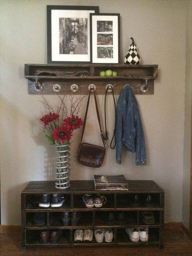 Shipping Pallet Recycling Ideas | Bench with shoe storage ...