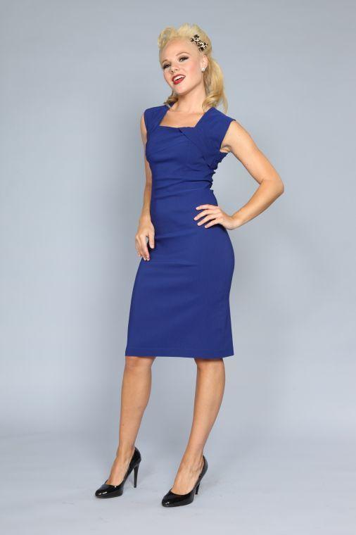 La robe Ella bleue royal | ROBES PIN UP ATTITUDE : La robe Ella est parfaite en toute occassion de jour comme de nuit et est l'une des 3 plus populaire de la fameuse marque Bettie Page! http://www.pinupattitude.com/gamme.htm?products_name=La+robe%20Ella%20bleue%20royal_id=1#  #robe #vintage #oldschool #rock #pinup #attitude #retro #50s #rockabilly #glam #bettiepage #ella