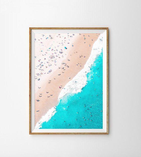 Aerial Beach Print Ocean Wall Art Modern Beach Print Tropical