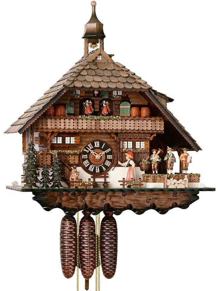 hones musical chalet husli house cuckoo clock 8day 8680t - Black Forest Cuckoo Clocks