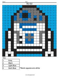 R2-D2 Subtraction coloring page