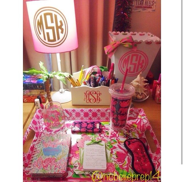 Lilly Pulitzer, pink and green, and monograms