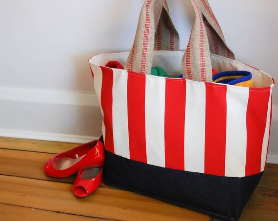 EXTRA Large Beach Bag // Tote in Red and Cream by LucyJaneTotes, $68.00