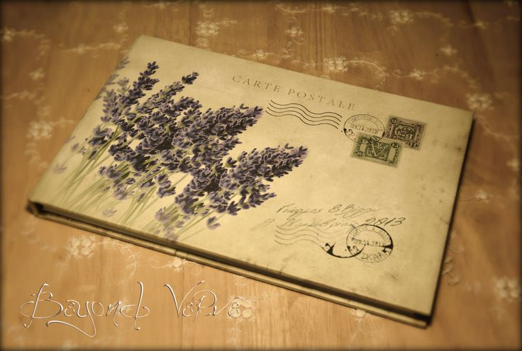 Carte postale guestbook / wishbook - Lavender - Vintage wedding stationery - Beyond Verve