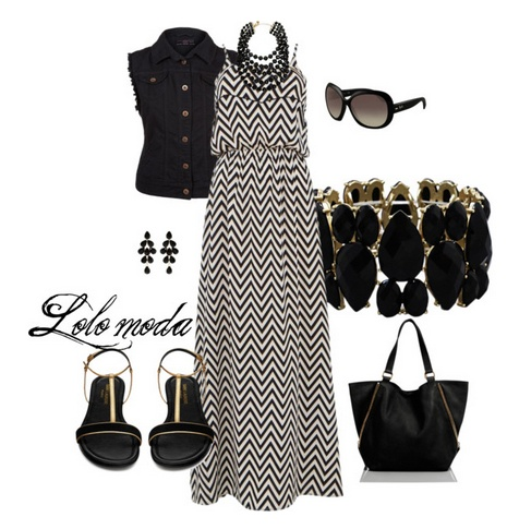 black and white maxi dress, flat sandals and sleeveless black denim. I would wear the statement necklace, but not the cuff. I'd also exchange the big black tote for a smaller bright bag. OR exchange the black denim for blue/coloured. OR bright lipstick. This outfit needs COLOUR