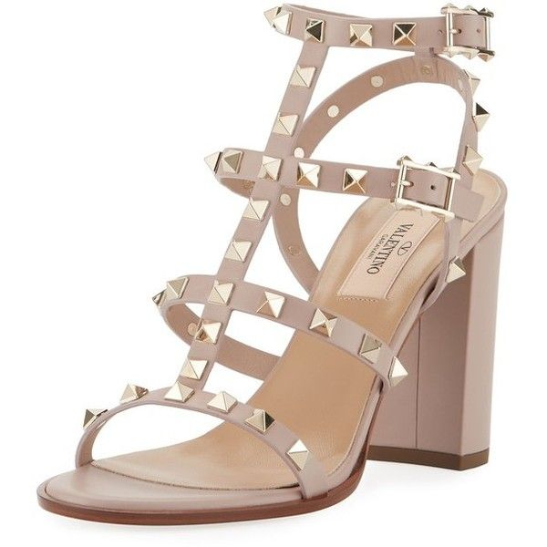 e44bde37d6e95 Valentino Garavani Rockstud Leather 90Mm City Sandal (14.379.205 IDR) ❤  liked on Polyvore featuring shoes