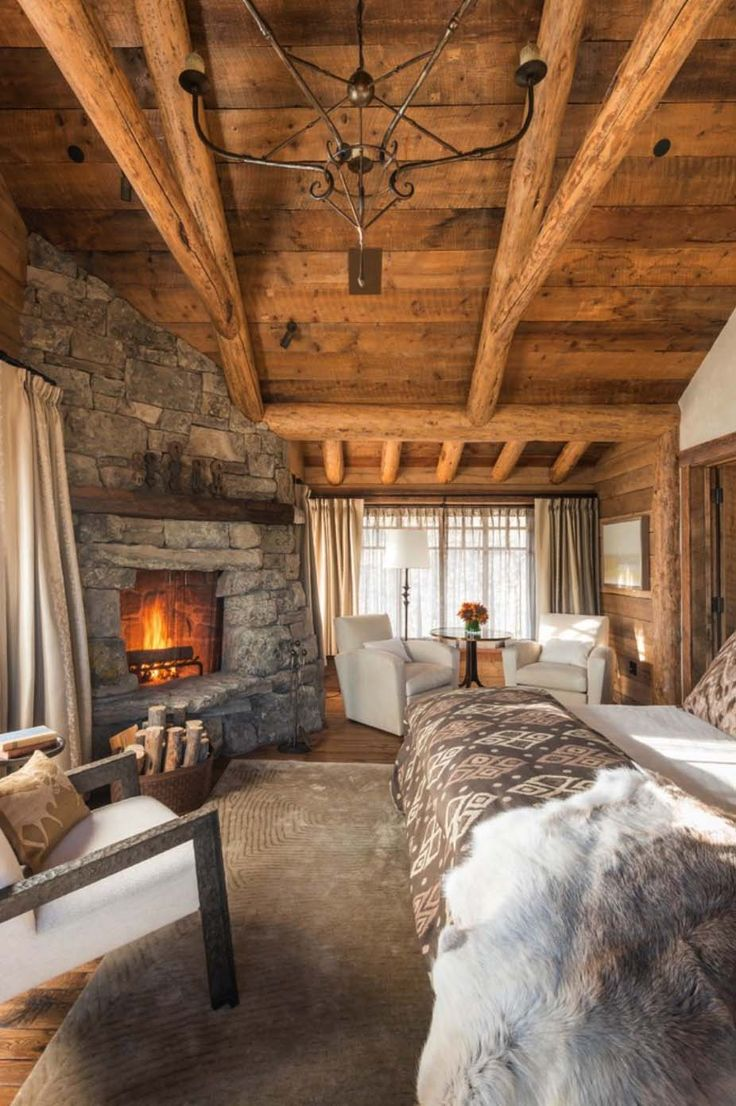 Cabin bedroom fireplace - 35 Gorgeous Log Cabin Style Bedrooms To Make You Drool