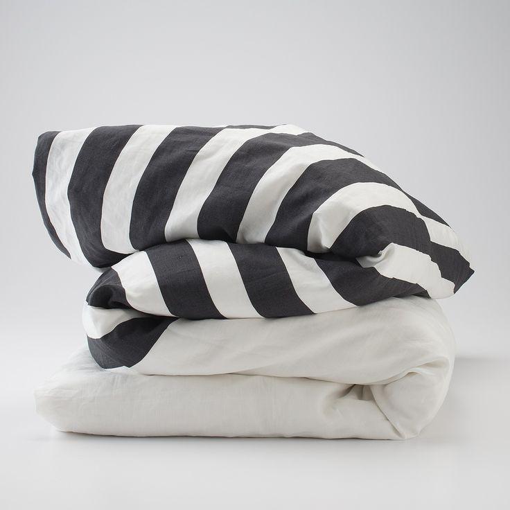 Charcoal Stripe Linen Duvet
