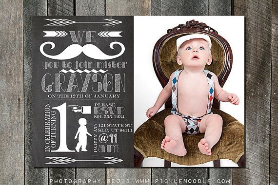 First Birthday Invitation - Turning One Year - Mustache Bash - Baby Boy 1st Birthday - Plus FREE web version - 5x7 - 4x6 on Etsy, $16.00