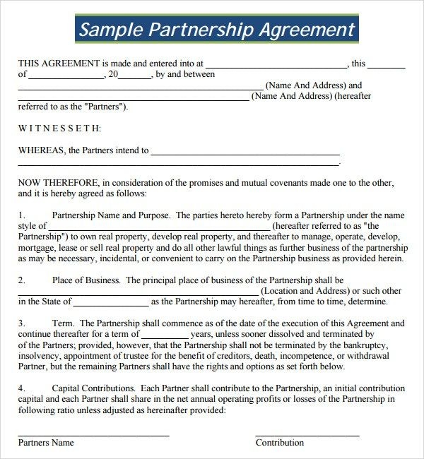 Partnership Agreement Template Free Agreement Business