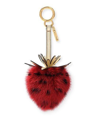 588465495f61 Y4508 Fendi Mink Fur Strawberry Charm For Handbag
