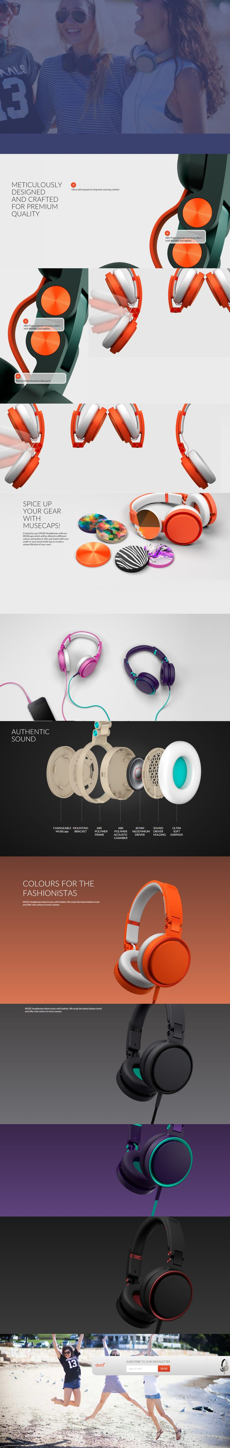 "The QUO+ headset page takes you on a wild, maze-like journey through their site with vertical and horizontal scrolling – along with an interesting section where you ""scroll"" through their product colors too."