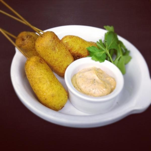 Andouille sausage corn dogs with gumbo aioli. Featured on our late night menu.: Late Night
