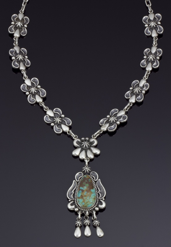 Necklace | Thomas Jim.  Sterling silver with Royston turquoise