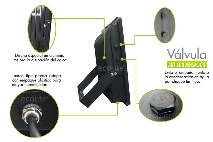 Reflector LED Ecolite® con válvula anticondensacion perfecta para uso exterior y resistente a la variación de climas protección IP65 www.ecolite.com.co