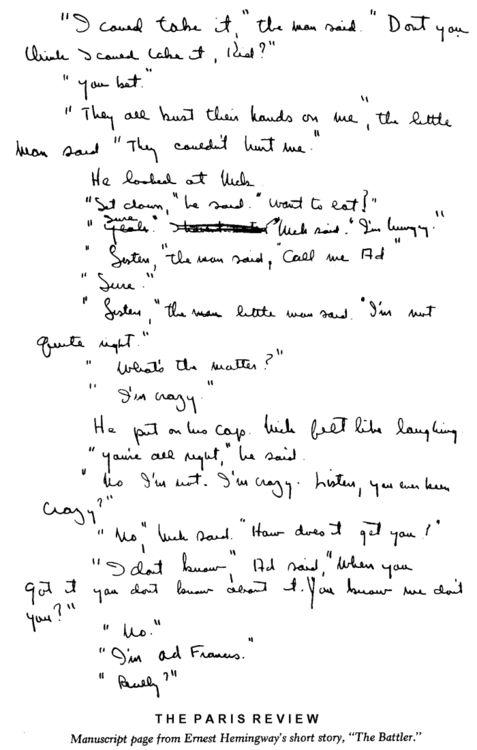 """Uma página do manuscrito """"The Battler"""", conto de Ernest Hemingway. E é por isso que adoramos folhas impressas!"""