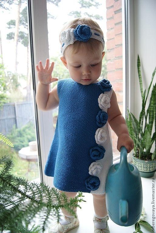 """Купить Комплект для девочки """"Фея цветов"""" - платье, платье для девочки, платье летнее, платье вязаное"""