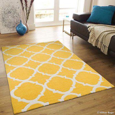 "AllStar Rugs Handmade Yellow Area Rug Rug Size: 4'11"" x 6'11"""