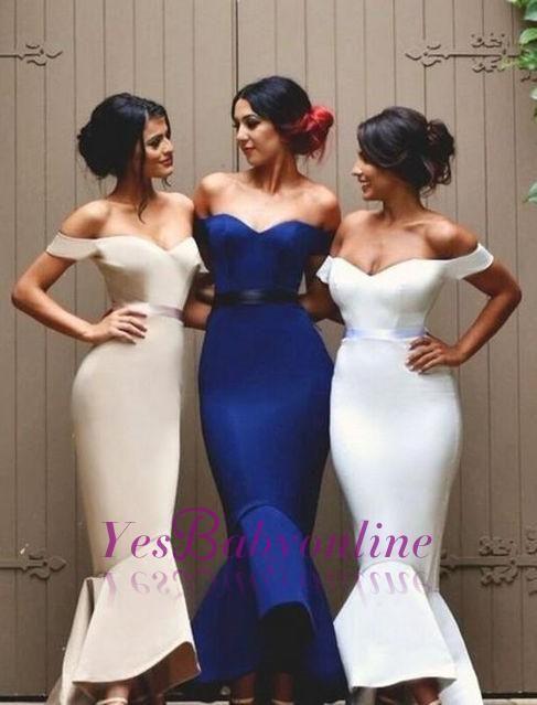 Newest Ruffles Lace-up Mermaid Off-the-shoulder Long Bridesmaid Dress_Wholesale Wedding Dresses, Lace Prom Dresses, Long Formal Dresses, Affordable Prom Dresses - High Quality Wedding Dresses - Yesbabyonline.com