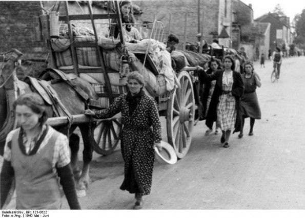 French refugees clog the roads in fear of the German advance, June 1940.