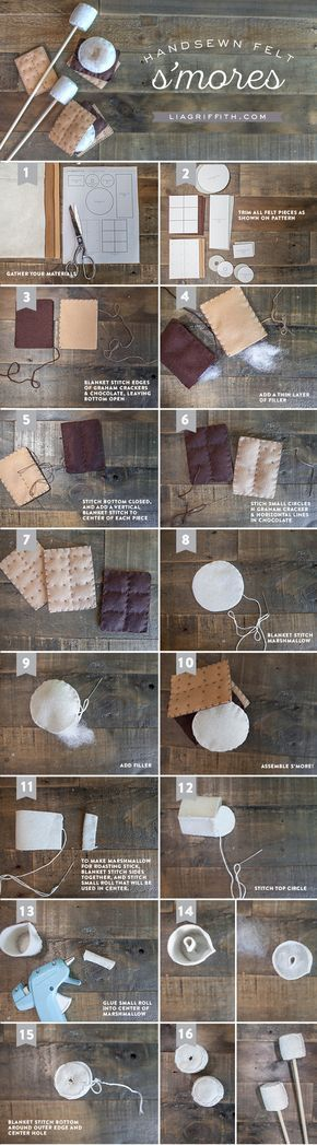DIY S'mores Felt Craft.  LC: Free download patterns for this one and the campfire.