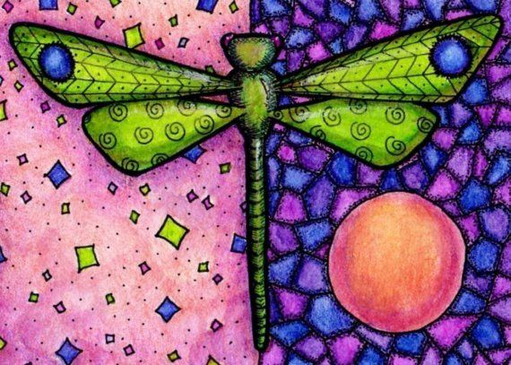 Green Dragonfly 5x7 Print by crookedlittlestudio on Etsy