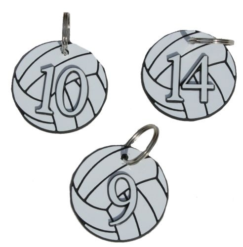 Numbered Volleyball Bag Tag / Keychain team gift idea.